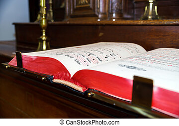 Vintage psalm book with chorus notes