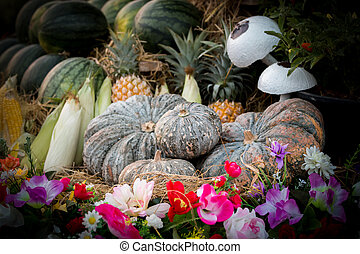 Vintage pumpkins and fruit