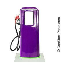 Vintage purple fuel pump on white background