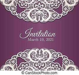 Vintage purple invitation cover with cream lace decoration