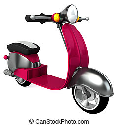 vintage purple moped isolated on white background