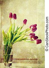 Vintage purple tulips