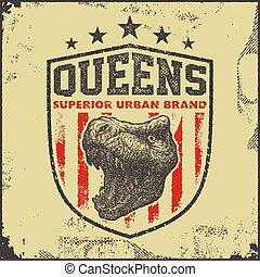 vintage queens typography t-shirt graphics