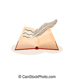 Vintage quill pen and open book, science and knowledge concept, symbols of retro writing vector Illustration on a white background