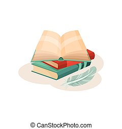 Vintage quill pen and open book, symbols of retro writing, science and knowledge vector Illustration on a white background