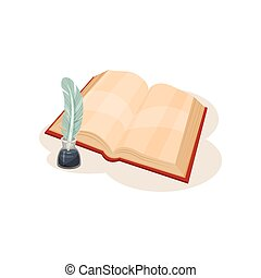 Vintage quill pen, inkwell and open book, symbols of retro writing vector Illustration on a white background