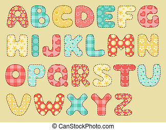 Vintage quilt alphabet. Set patchwork letters. Vector illustration.