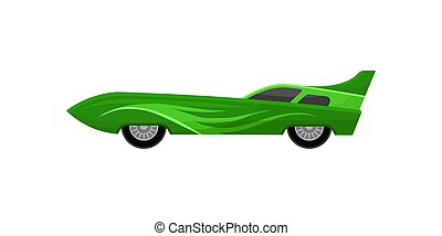 Vintage racing automobile with spoiler and tinted windows. Bright green sports car. Flat vector icon