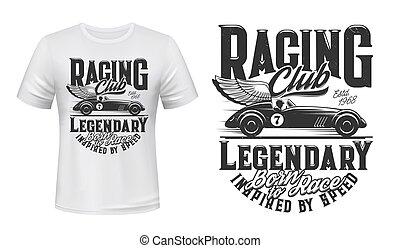 Vintage racing car t-shirt print vector mockup