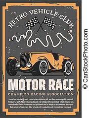 Vintage racing car with auto motor sport flags