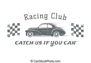 Vintage racing club badge template.
