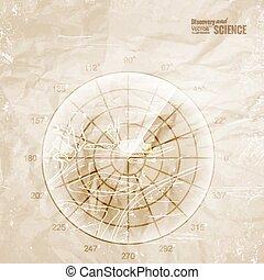 Vintage radar. - Vintage radar printed on old paper. Vector...