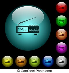 Vintage radio clock icons in color illuminated glass buttons...