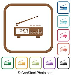 Vintage radio clock simple icons in color rounded square...