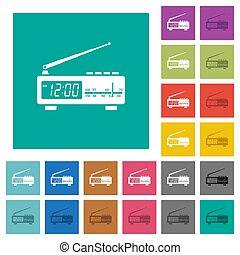 Vintage radio clock square flat multi colored icons -...