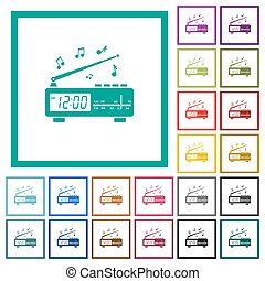 Vintage radio clock with music flat color icons with...
