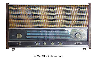 Vintage radio isolated over white background, clipping path