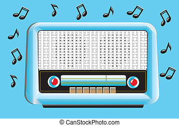 Old transistor radio from 50's - 60's, with musical notes, retro style. EPS 10 file attached for this illustration.