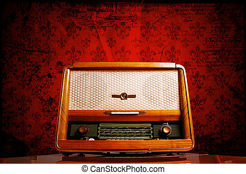 vintage radio on red background