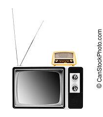 vintage radio on tv isolated