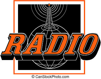 Vintage Radio Tower Sign Clip Art - Vintage or retro radio...