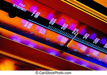 Vintage radio tuner - Analog radio tuner closeup with FM and...