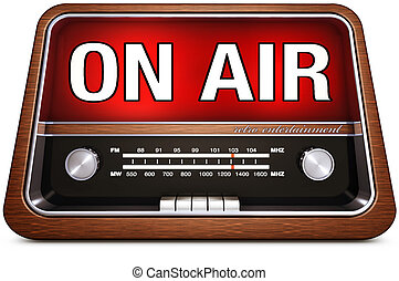 on air - vintage radio with a on air icon