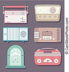 Vintage Radios Elements Illustration