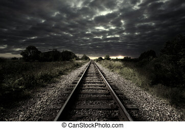 Vintage railroad track - Vintage railroad at cloudy night....
