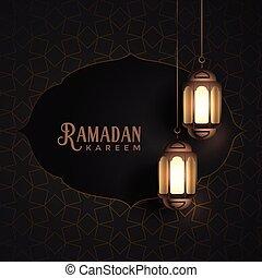 vintage ramadan kareem design with hanging lanterns