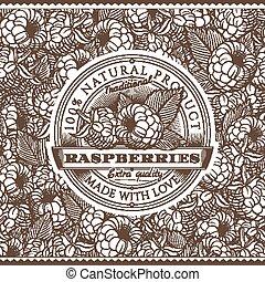 Vintage Raspberries Label On Seamless Pattern