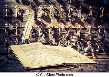Vintage reception in hotel with keys for rooms and guestbook
