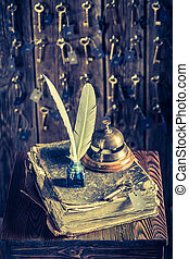 Vintage reception in hotel with guestbook and keys for rooms