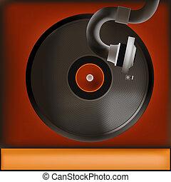 Vintage Record Player Background - Background illustration...