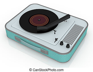 vintage record player - close up view of a vintage record...
