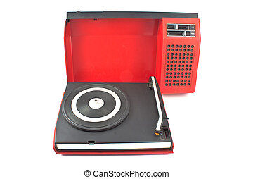 Vintage record player - portable turntable isolated on white