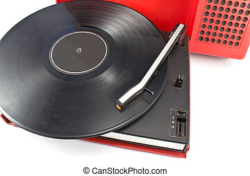 Vintage record player - portable turntable on white