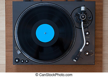 Vintage Record Turntable Player with Black Vinyl Disk