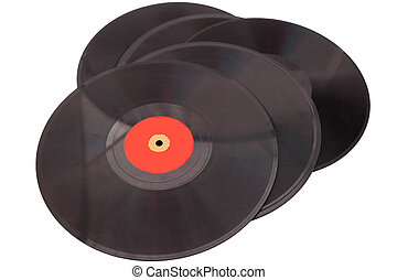 Vintage records - Stack of vintage black records isolated on...
