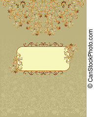 Vintage rectangular frame with brown decor