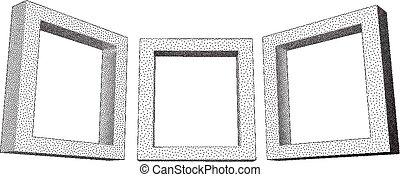 Vintage rectangular frames with dotwork gradient