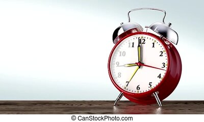 vintage red alarm clock on white background. Time concept.