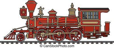 Vintage red american steam locomotive