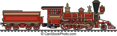Vintage red american steam locomotive - Hand drawing of a...