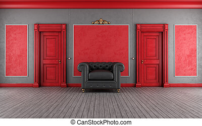 Vintage red and gray interior