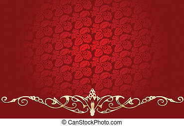 Vintage Red Background With Glow Gold Curves
