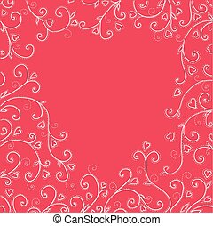 Vintage red background with hearts.