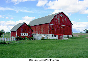 vintage red barn - old red barn and shed on a country dairy ...