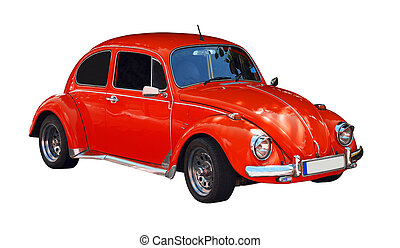 beetle car - vintage red beetle car isolated on white