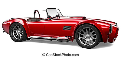 Vintage red car  on a white background